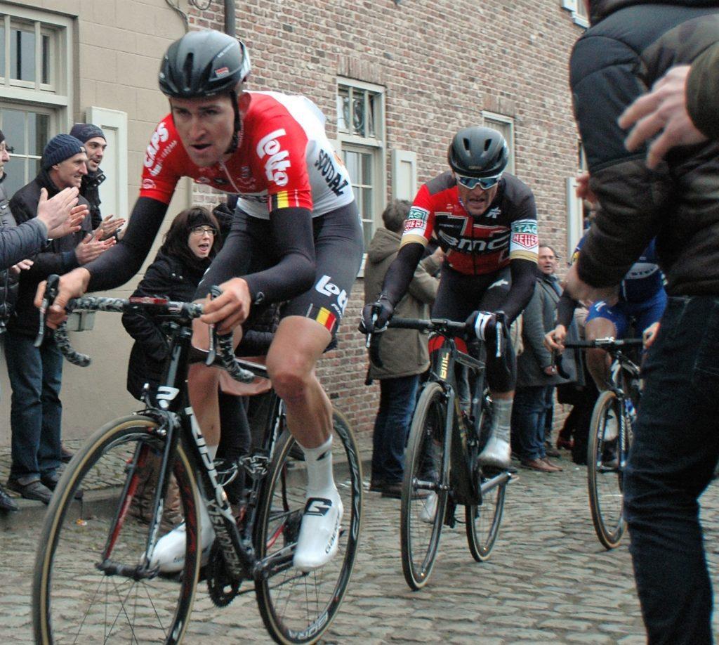 Tiesj Benoot leads Greg van Avermaet