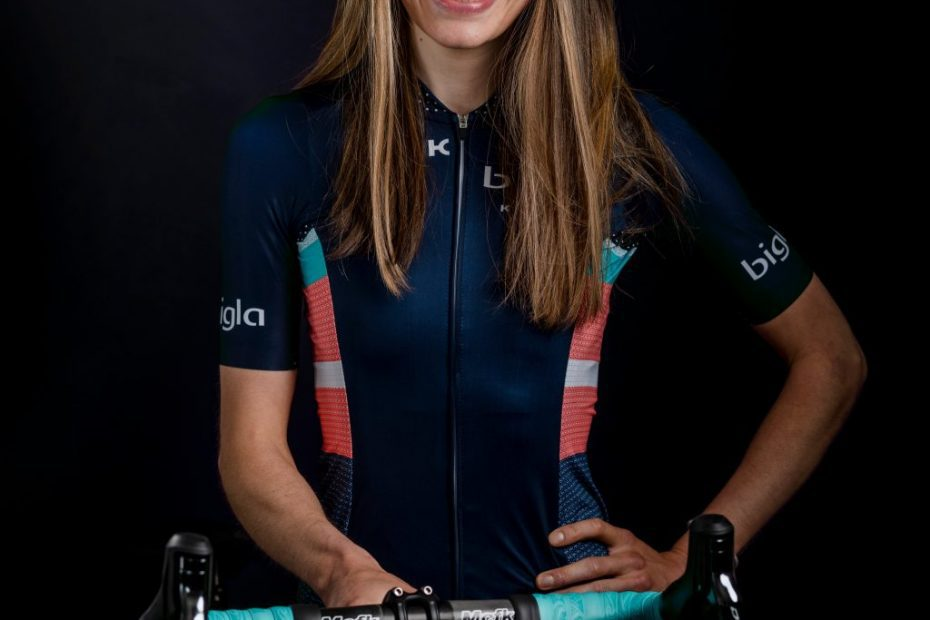 Emma Norsgaard Jørgensen on the podium at Omloop van het Hageland after strong sprint finish